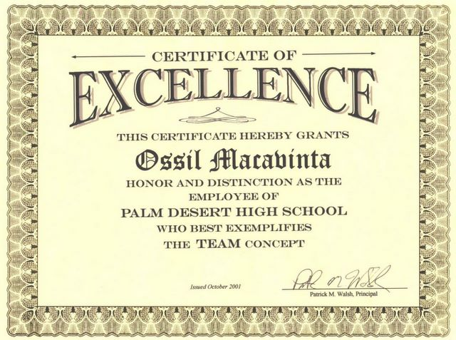 Ossil v macavinta ed d for Teacher of the month certificate template